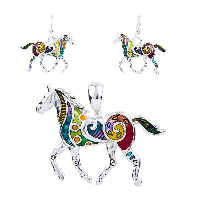 Horse Jewelry Sets High Quality Silver Plated Multicolor Horse Necklace Earring Set Animal Jewelry Party Gifts
