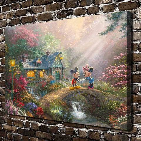 Thomas Kinkade Mickey Mouse Cartoon Anima, HD Canvas Print Home decoration Living Room bedroom Wall pictures Art painting
