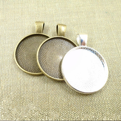 10pcs 25mm Silver Plate Necklace Pendants