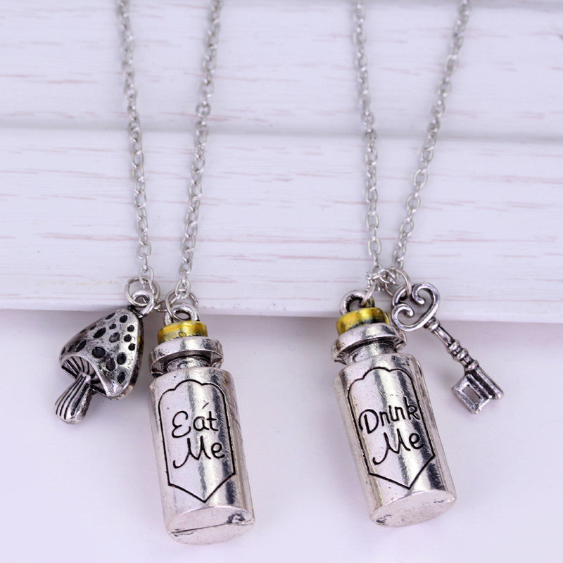 Alice in wonderland necklace Drink me and eat me little bottle pendant necklace