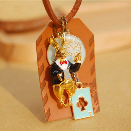 Handmade leather Alice in Wonderland rabbit cards long necklaces & pendants for women 2015 anime jewelry accessories colar