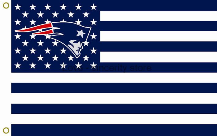 New England Patriots Flag with Star and Stripe 3FTx5FT