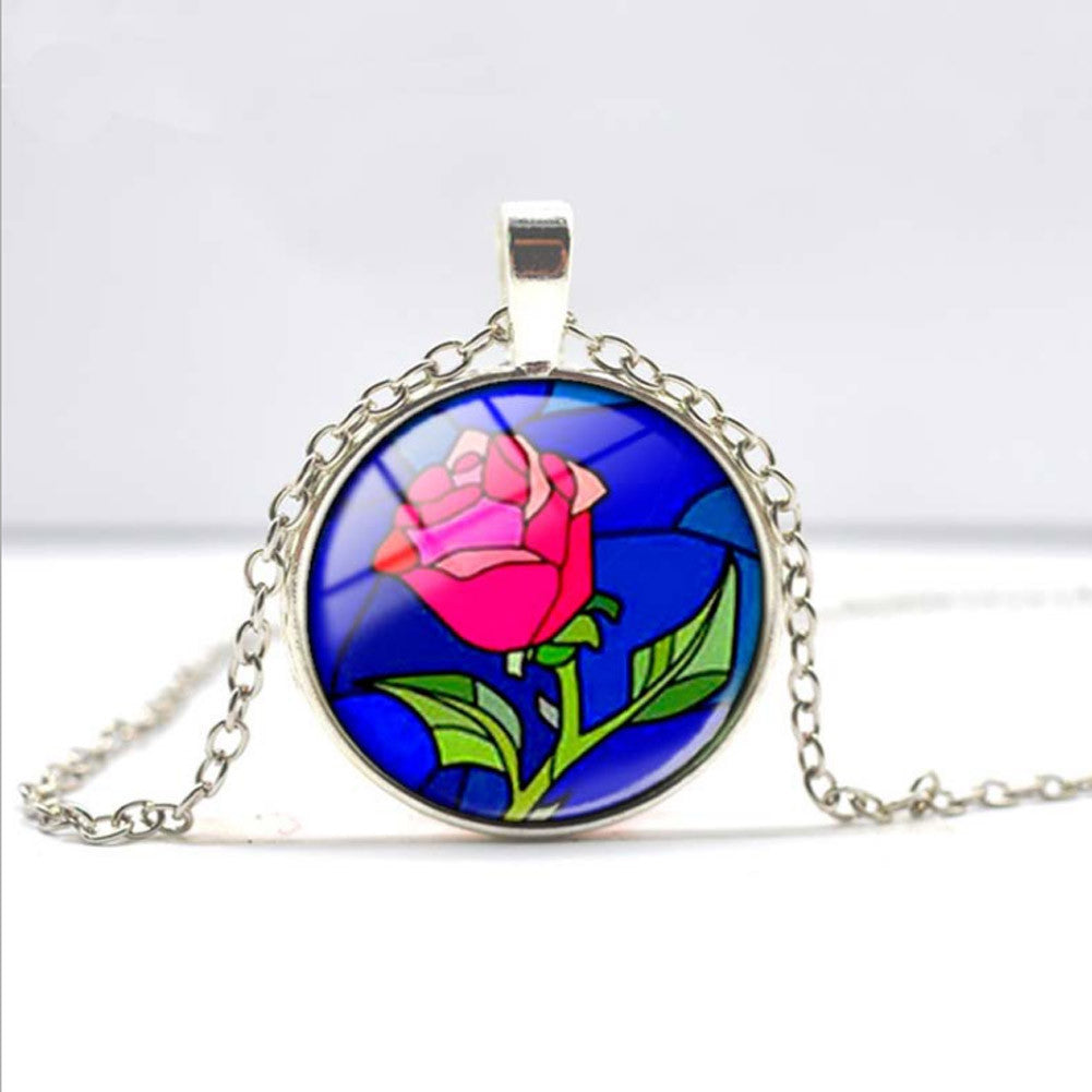 2015 New Glass Dome Necklace beauty and the beast necklace beauty and the beast pendant necklace glass picture pendant