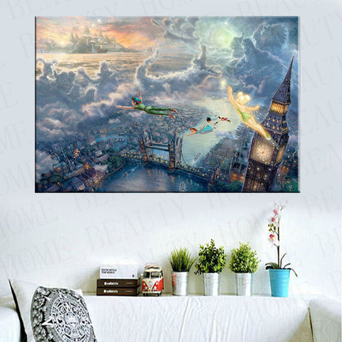 Thomas kinkade Prints On Canvas Reproduction Painting Wall Art Decorate Picture Tinker Bell And Peter Pan Fly To Neverland