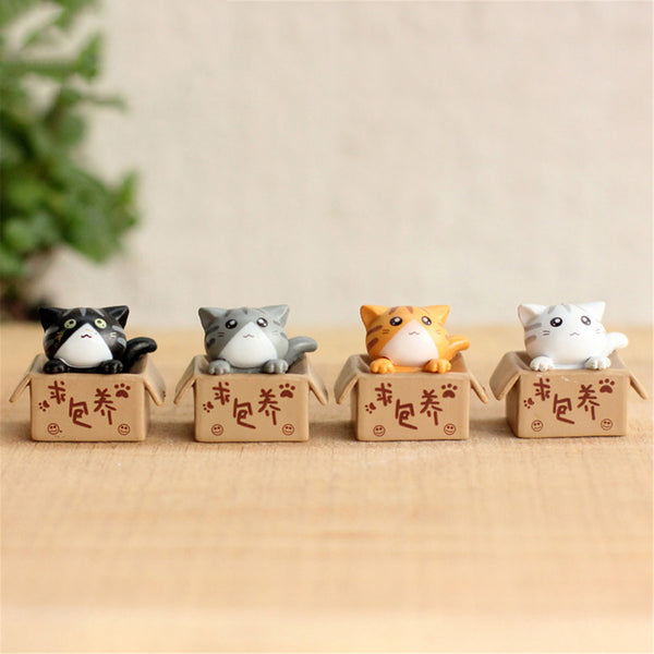 4 pcs Kawaii Cartoon Cat Fairy Garden Decorative Crafts Home Mini Decoration Micro Landscape Accessories House Figurines