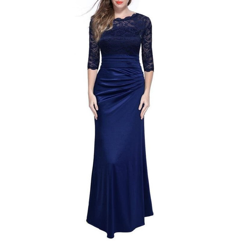 Elegant Formal Evening Party Dresses Plus Size Solid Lace Hollow Out O-neck Women Summer Maxi Long Vintage Dress