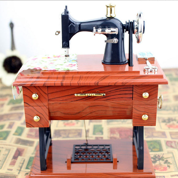 Musical Boxes Treadle Sartorius Toys Retro Birthday Gift Home Decoration Accessories Vintage Lockwork Sewing Machine Music Box