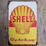 Shell Fill Up From The Pump Tin sign Home Decor 20*30 Vintage Metal Sign For Bar Cafe Pub wall decoration