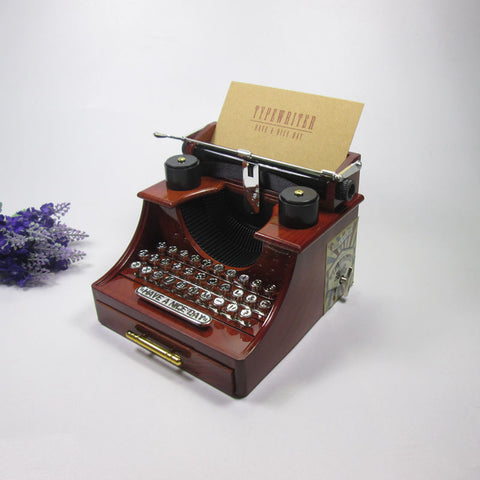 Old style Typewriter machine music box creative retro brown musical box with a drawer home decoration craft 14.5x13.5x11cm