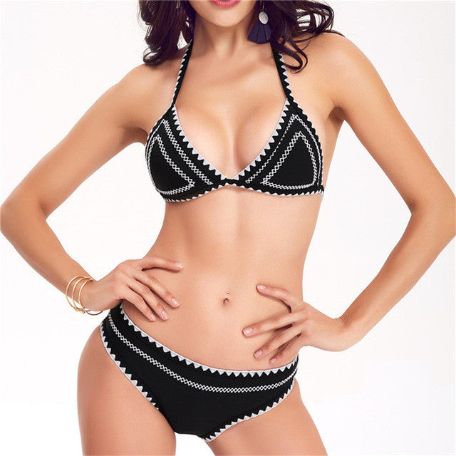 Trangel crochet bikini swimwear sexy brazilian bikini women high neck bikini halter swimwear summer bathing suit