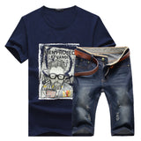 Short Sleeve T-shirt / Men Casual Denim Shorts
