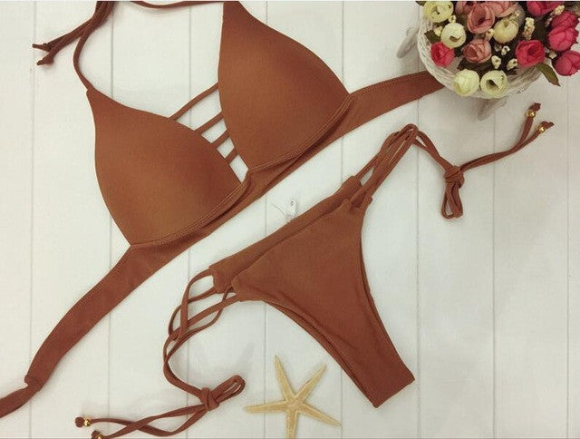 2017 New African Two-Pieces Bath Suits Bikini Set Sexy Geometric Swimwear Swimsuit Gold High And black High Waist Swimming Suit