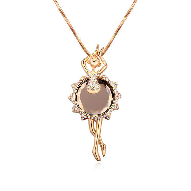 Fashion Glass Ballerina Figure Pendants Necklace Gold Color Long Chain Sweater Collares Women Children Costume Jewelry