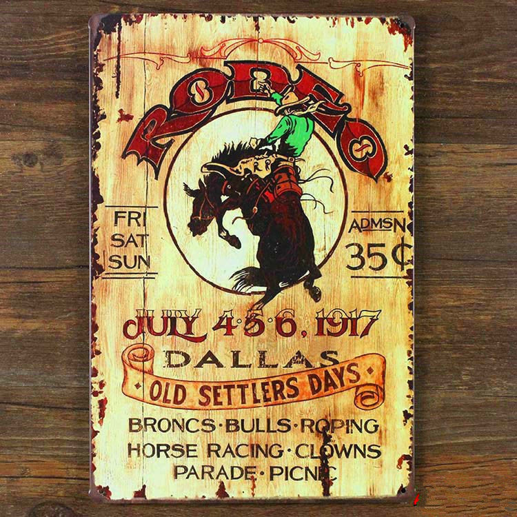 """ cowboy horse"" vintage metal tin signs painting home decor poster wall art craft 20X30cm"