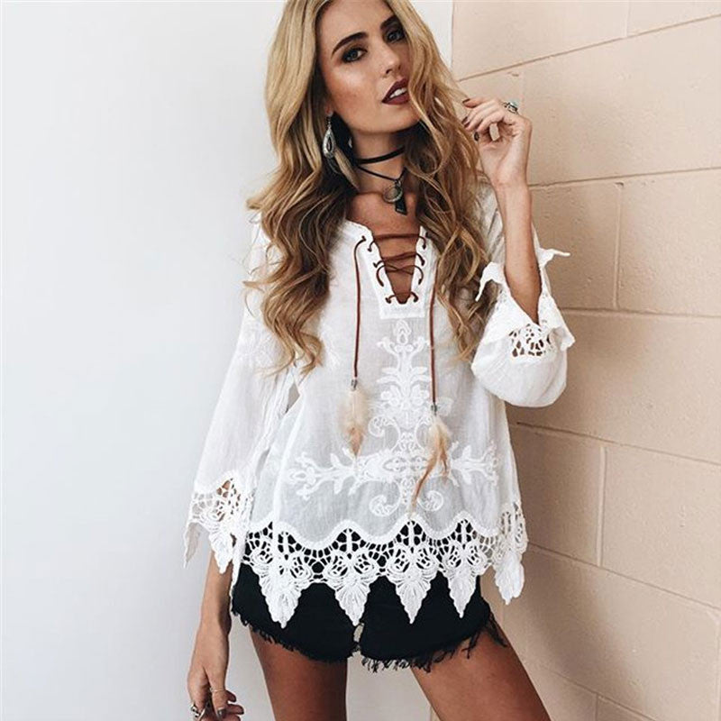 Lace Up Blouse Shirt Women Sexy V-neck Long Sleeve Blouse Black Loose Lace Patchwork Tops Blouse 2017 Summer Boho Beach Cover Up