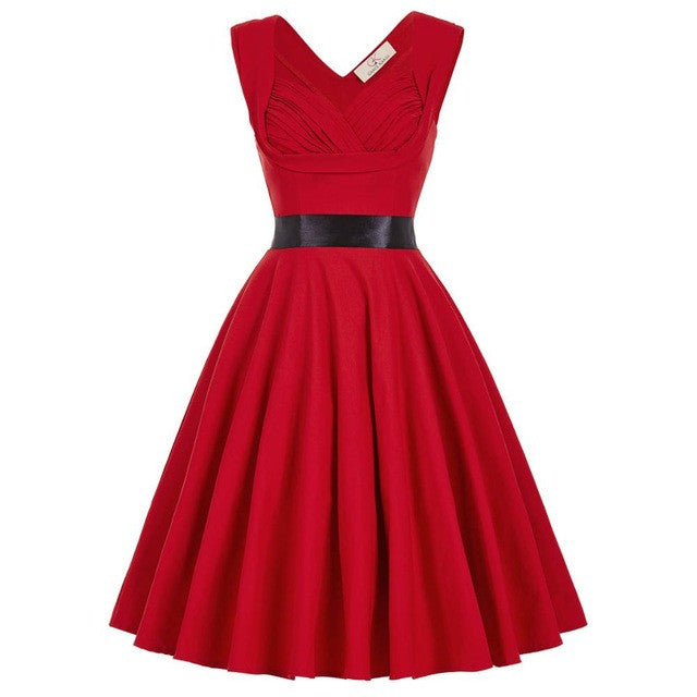 Retro Vintage 1950s 60s Dresses Women Summer Pinup Rockabilly Floral Dress Sleeveless Casual Party Midi Pleated Dress Vestidos