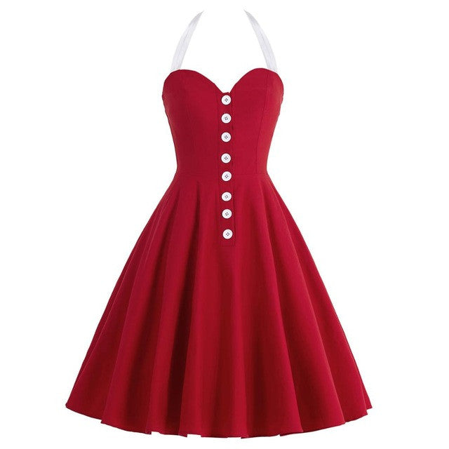 Retro Vintage Dresses Women 2017 Black Red Blue Big Swing Rockabilly 1950s 60s Dress Vestido Sexy Summer Party Wiggle Lady Dress