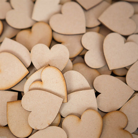50pcs 60mm Heart Shaped Wooden Slices