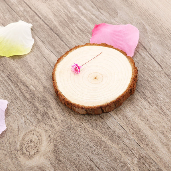 10pcs 7-9CM Wood Log Slices Discs for DIY Crafts Wedding Centerpieces (Wood Color)
