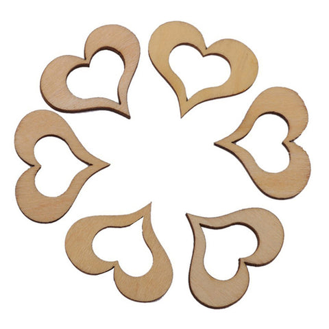 50pcs Wooden Blank Hollow Heart