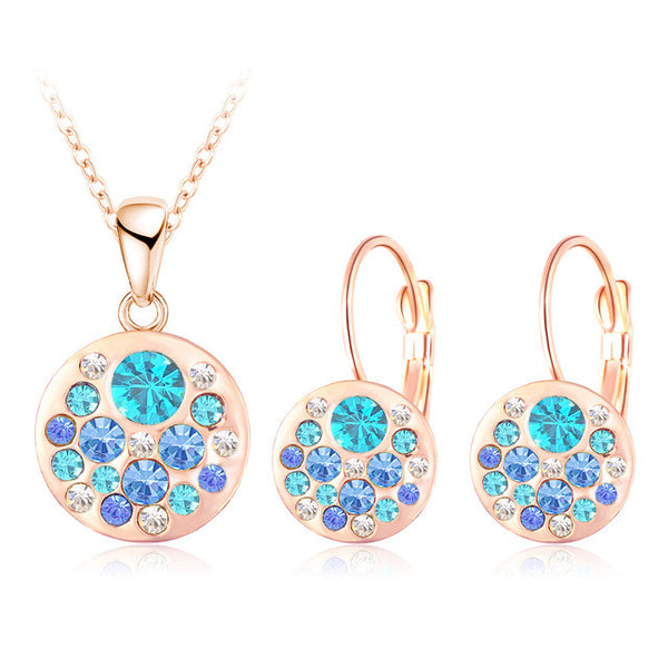 Crystal Jewelry Set for Women 18K Rose Gold Plated Round Style Pendant/Earrings Sets