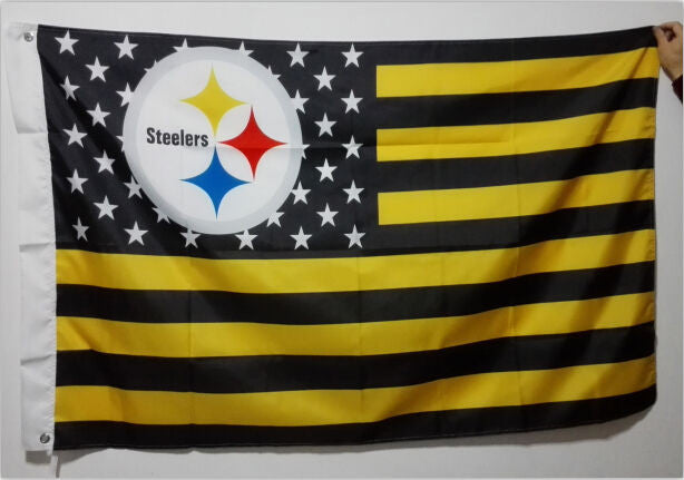 Pittsburgh Steelers NFL Premium Team Flag 3 x 5ft 100% polyester MAKE THE MOVE SUPPORT THE STEELE
