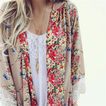 Women Vintage Floral Loose Shawl Kimono Cardigan Boho Chiffon Coat Jacket Blouse Beach Bikini Cover Sunscreen Clothing