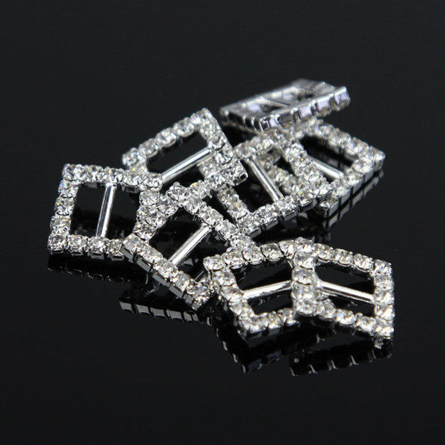 Stunning Square Rhinestone Buckle Slider Ribbon Slide Diamante Buckle 12mm 10pcs/lot