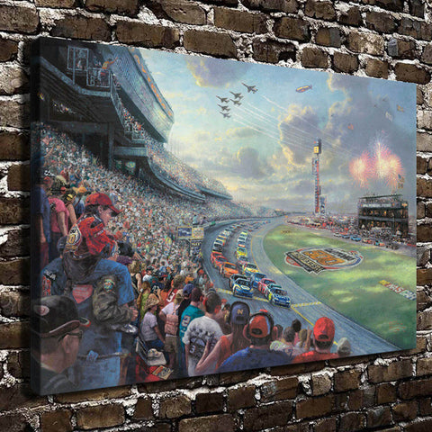 Thomas Kinkade NASCAR THUNDER, HD Canvas Print Home decoration Living Room bedroom Wall pictures Art painting