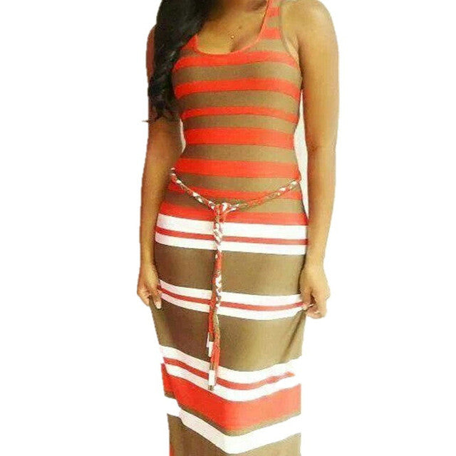 Fashion Summer Dresses Sleeveless Striped