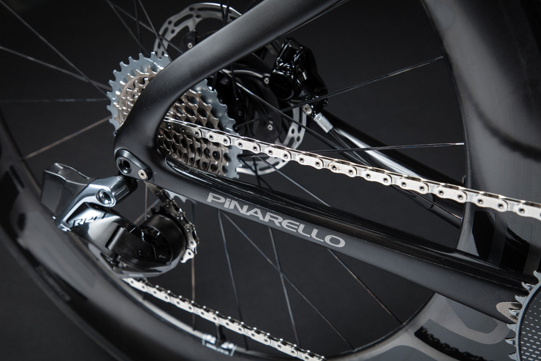 A Blacked Out Pinarello Bolide Gallery chainstay