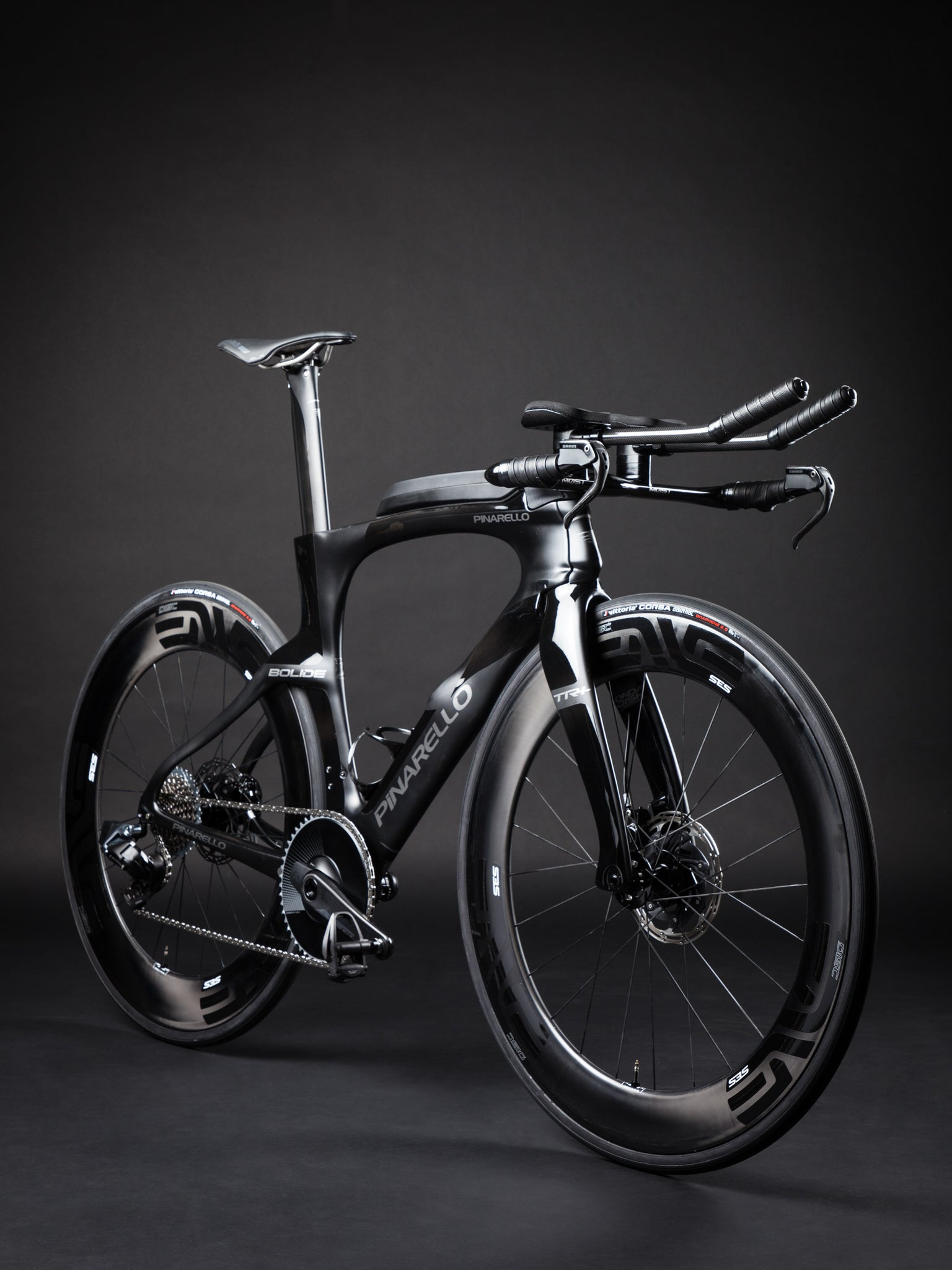 A Blacked Out Pinarello Bolide Gallery front angle full bike
