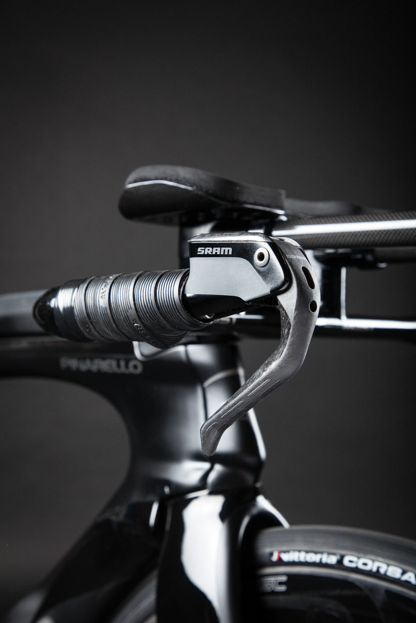 A Blacked Out Pinarello Bolide Gallery sram axs aero brake