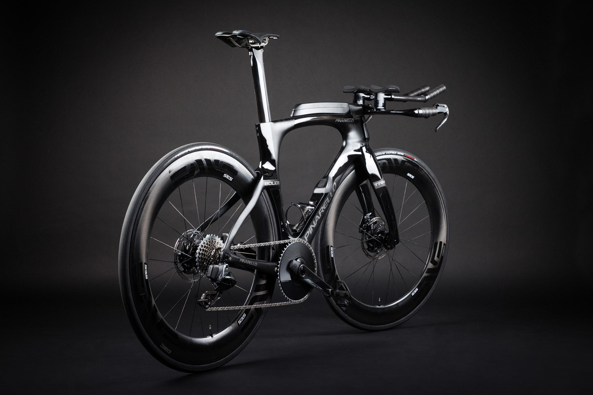 A Blacked Out Pinarello Bolide Gallery profile rear angle