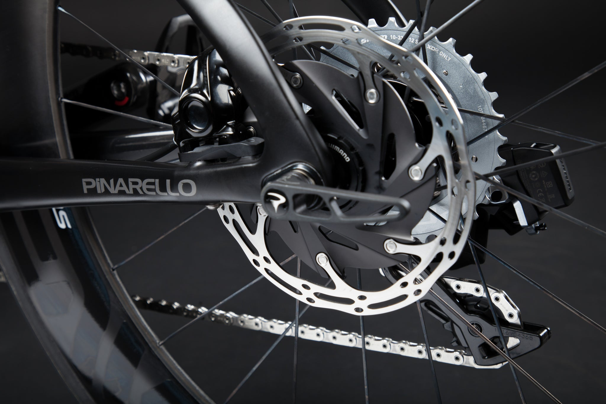A Blacked Out Pinarello Bolide Gallery rear dropout rotor