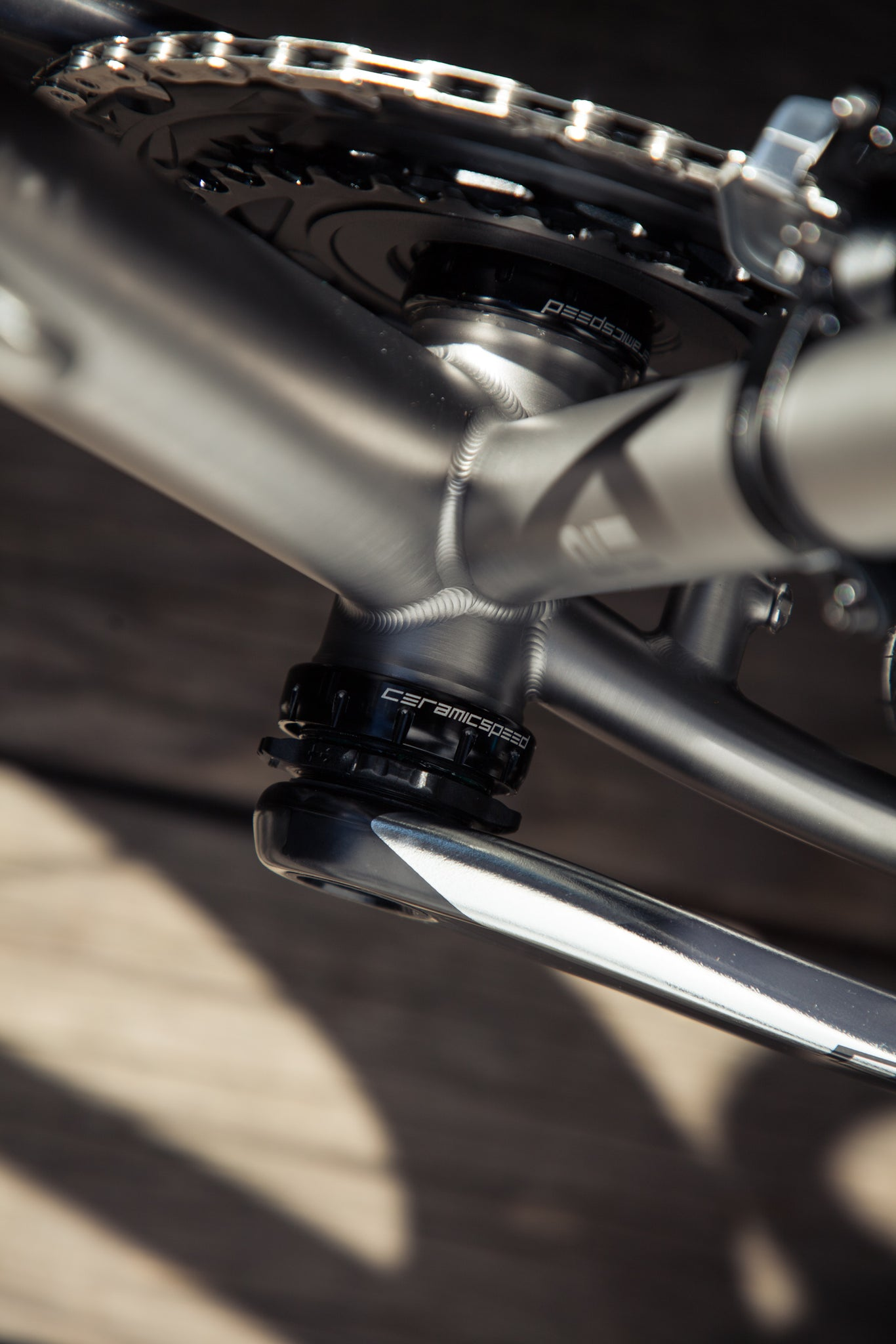 mosaic GT-1 titanium gravel bike bottom bracket welds