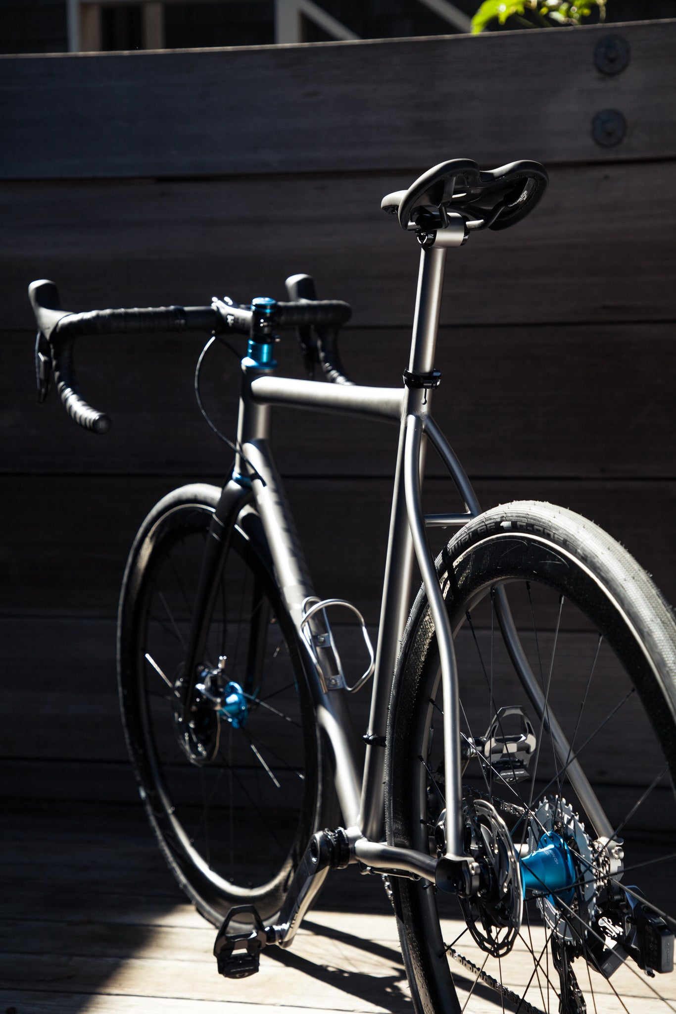 mosaic GT-1 titanium gravel bike rear angle vertical