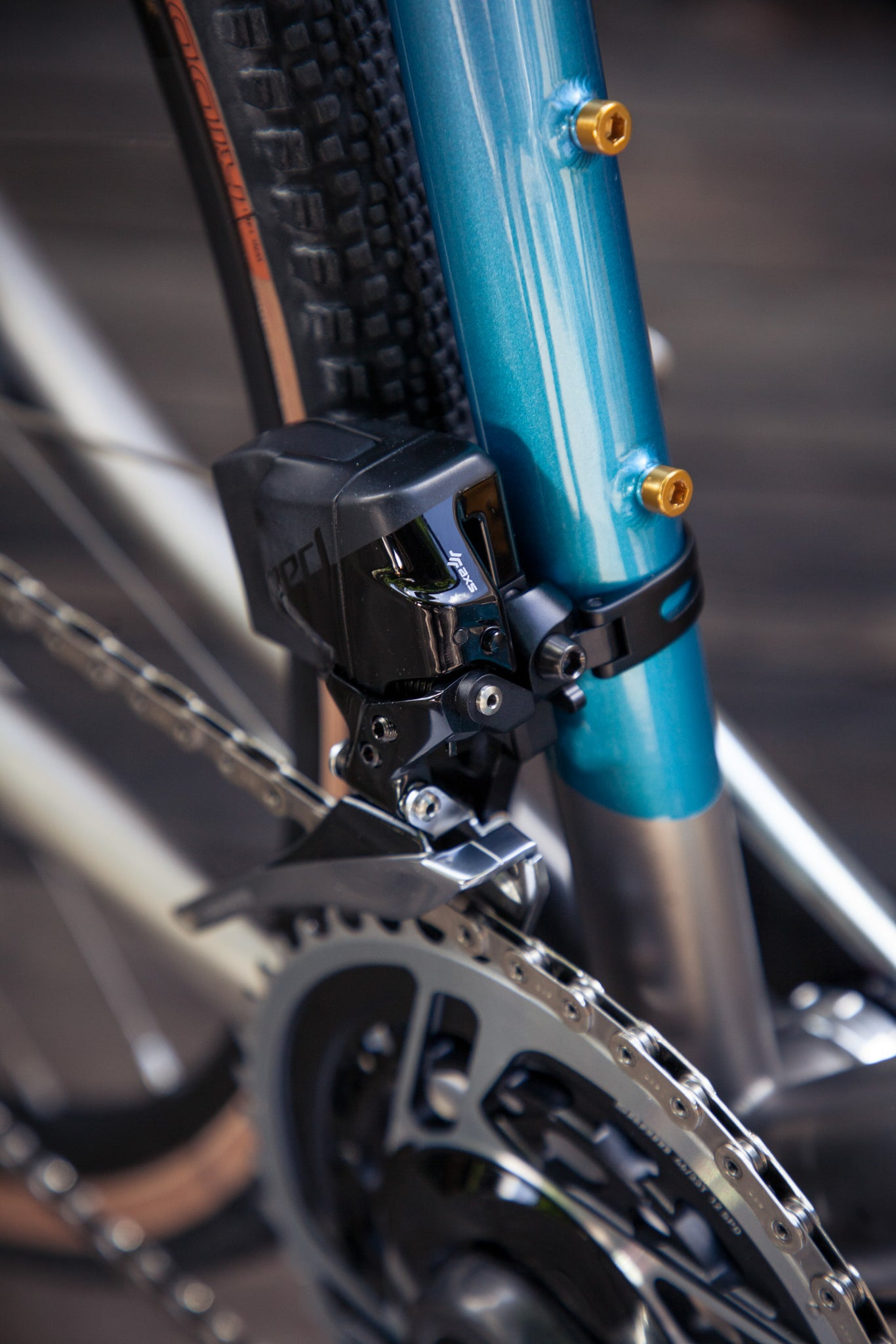 a faded mosaic GT-1 front derailleur