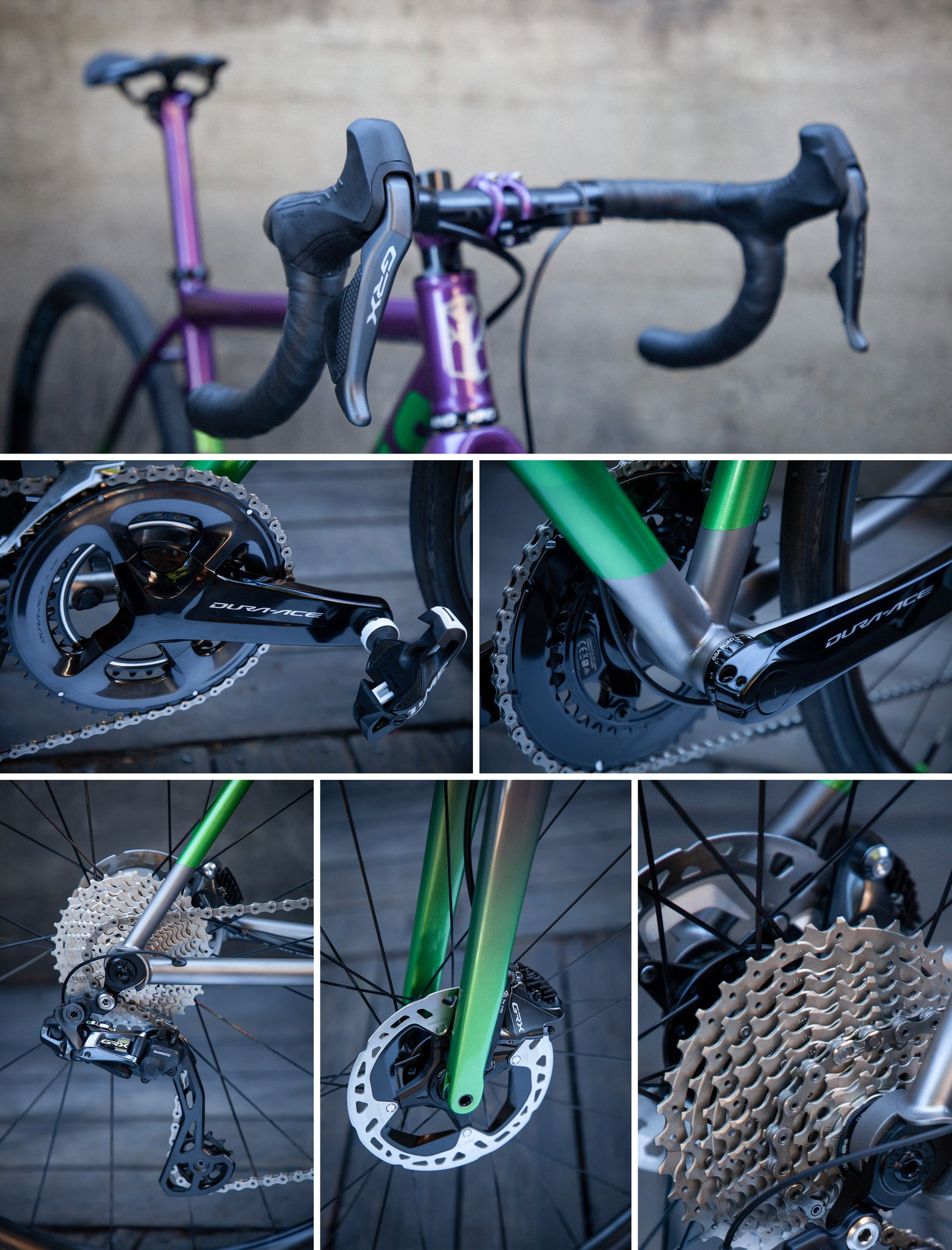 mosaic gt1 gravel bike purple green drivetrain shimano GRX