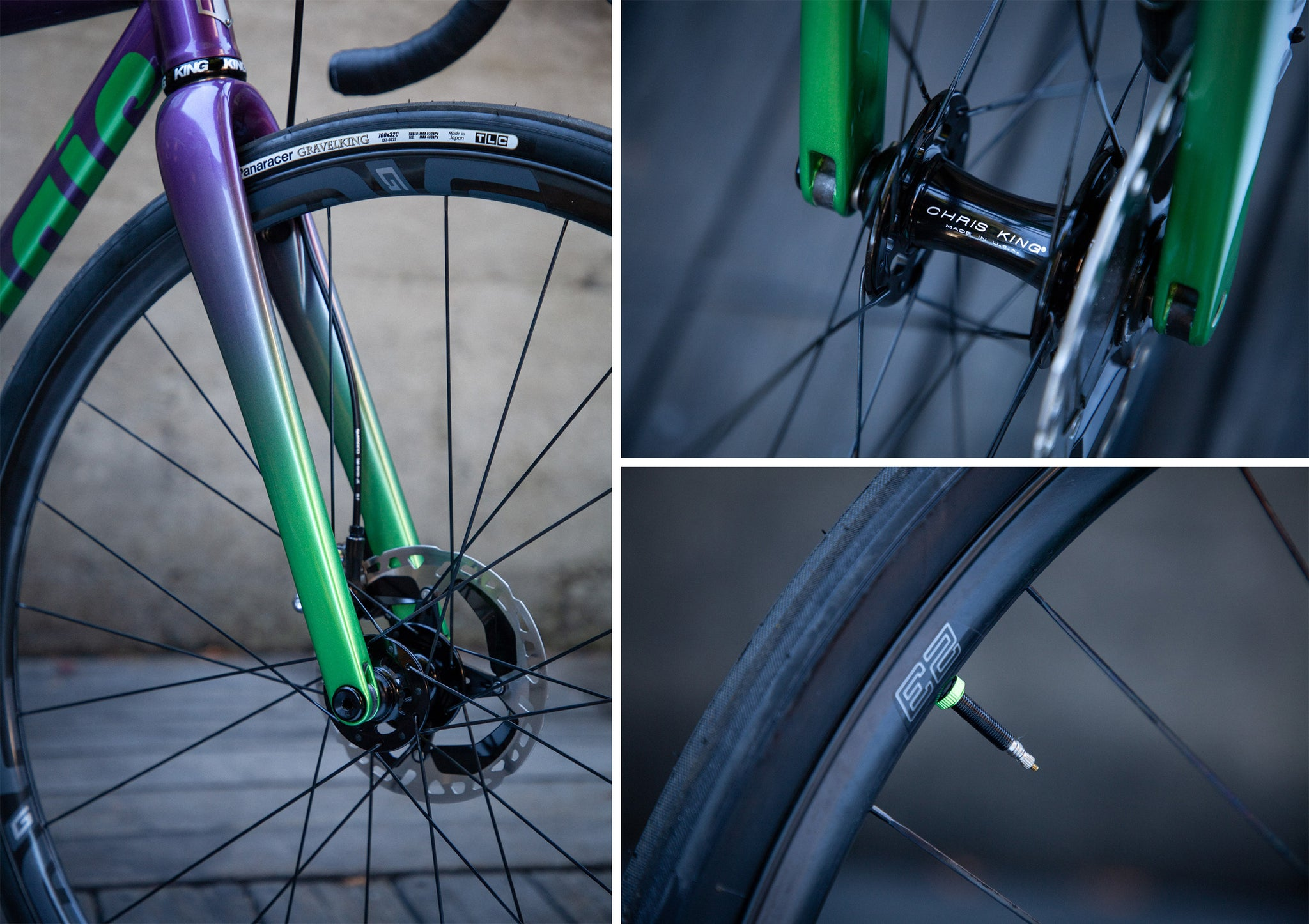 mosaic GT1 gravel bike purple green wheels enve G23 panaracer