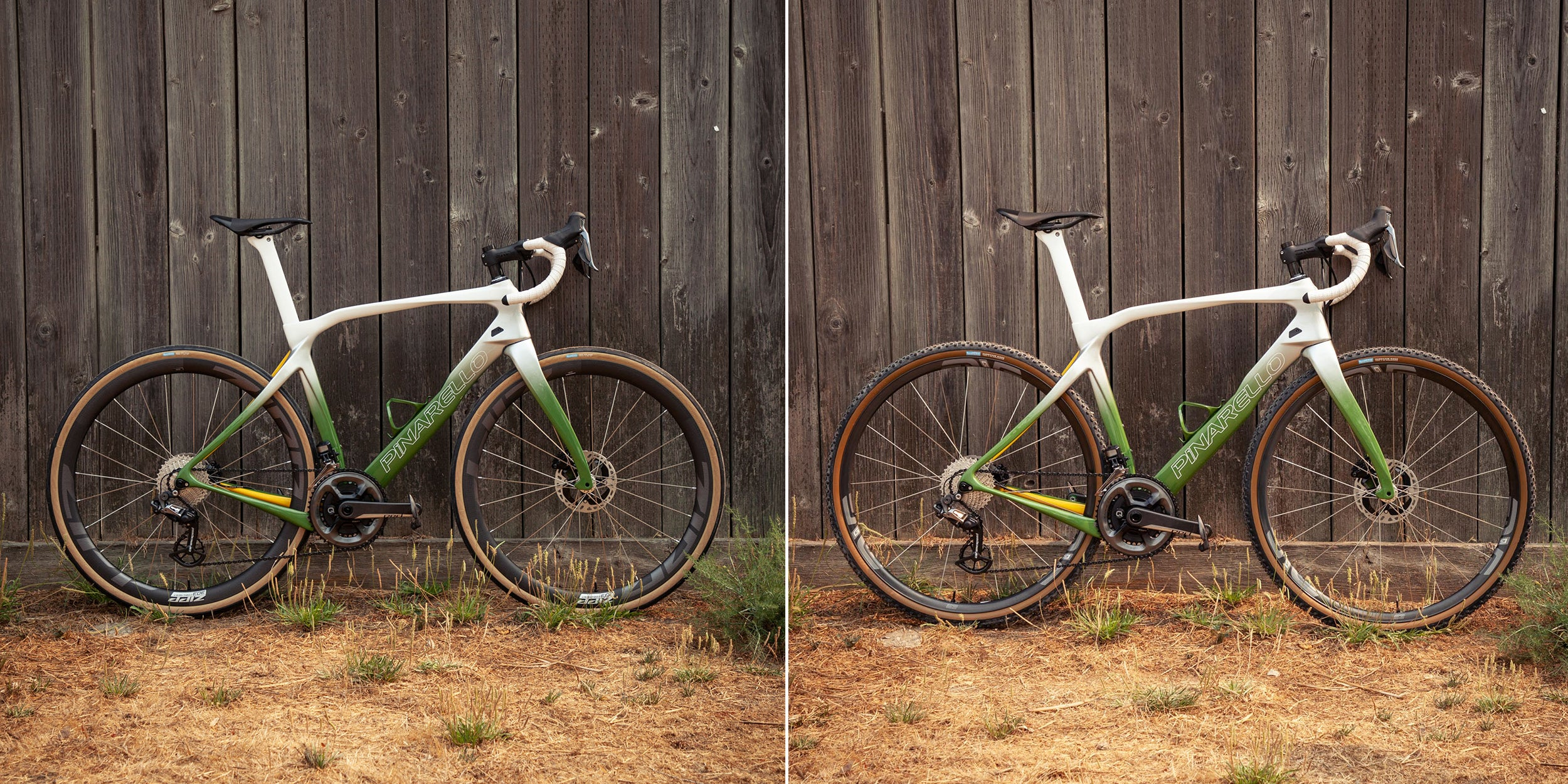 pinarello grevil custom paint side by side