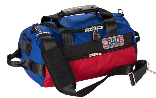 Number 1.5 Side Pocket Duffel Bag Blue Red