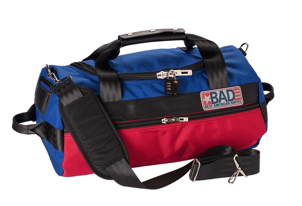 Number 2 Duffel Bag Side Pocket Blue Red