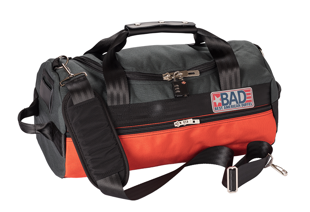 Number 2 Duffel Bag Backpack Charcoal Orange