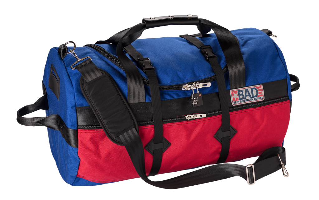 Number 4 Duffel Bag Side Pocket Blue Red