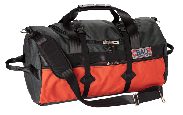 Number 4 Duffel Bag Side Pocket Charcoal Orange