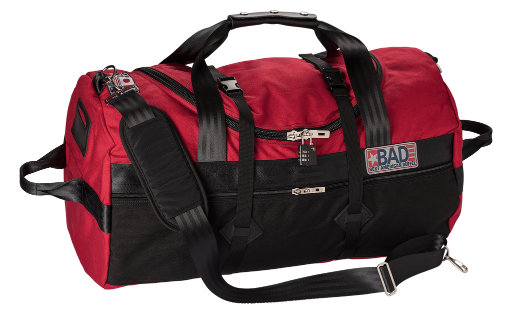 Number 4 Duffel Bag Side Pocket Red Black