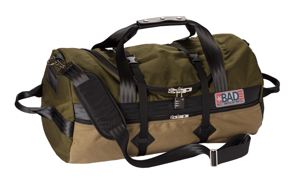 Number 4 Duffel Bag Side Pocket Moss Khaki