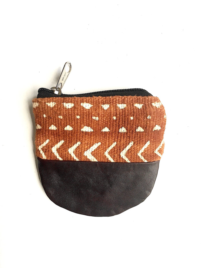 mudcloth and leather coin purse