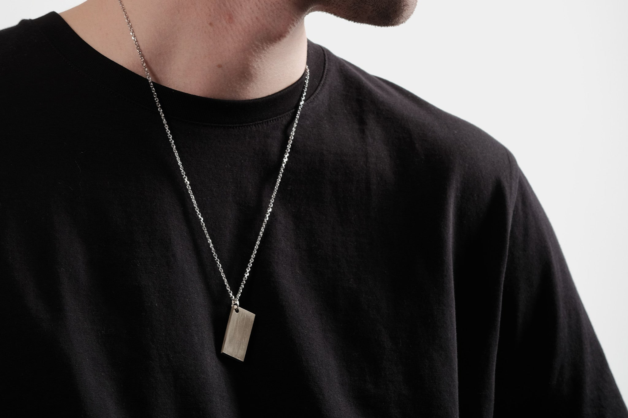 CS 16mm Pendant Necklace // Brass - Men's Pendant Necklace - MUJO NYC - 2